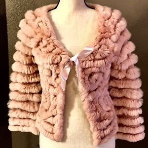 Fur knitted jacket